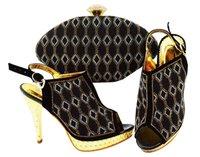 afrikanischen stil schuhe großhandel-Qualitativ hochwertige schwarze Damenpumpen mit Strassgitterart afrikanische Schuhe entsprechen dem Handtaschensatz für Kleid JZC003, Ferse 12CM