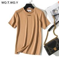 kadınlar beyaz tişörtler toptan satış-WOTWOY Yiyiyouni Marka Harfler Aplike T-Shirt Kadın 2019 Pamuk Moda Temel Rahat Tişörtleri Bayanlar Beyaz Siyah Üst Harajuku T190602