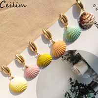 Wholesale beach bride jewelry for sale - Group buy Bohemian Colorful Shell Dangle Drop Earrings For Women Party Statement Sea Earrings Gold Color Metal Summer Bride Jewelry Bohemian Beach