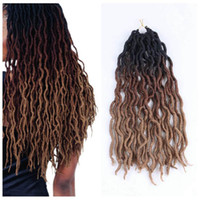 Wholesale ombre curly braiding hair online - Synthetic Braiding Hair Curly Faux Locs Ombre Kanekalon Soft Crochet Braids Inch Strands Synthetic Hair Extensions In Stock