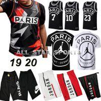 maillot de basketball achat en gros de-2019 PSG Paris Jersey Fashion 23 Maillots de basket-ball Michael JD Paris Pantalon court PSG X AJ Jordam MBAPPE Maillot de foot