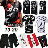 Wholesale pant shirts resale online - 2019 PSG Paris Jersey Fashion Michael JD Paris Basketball Jerseys PSG X AJ short pants Jordam MBAPPE Football Shirt Kit Maillot vest