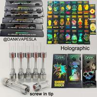 Wholesale vape screws resale online - Dank Vapes Cartridges ml Empty Vape Pens Oil Cartridges Screw Tip Disposable Vape Carts E Cigarettes with Holographic Packaging Box