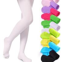 baby kleidung strumpfhosen großhandel-Mädchen Strumpfhosen Kinder Tanzen Socken Candy Farbe Kinder Samt Legging Kleidung Baby Ballett Strümpfe 15 Arten GGA2487