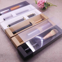 Wholesale cosmetic pen packaging for sale - Group buy New Vintage kraft Frosted cover slide Eyebrow Box Clear Window Pen Box white Lip Sticker black Cosmetic single package