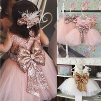 Wholesale baby dresses sequins resale online - Baby Girl Designer Dresses Sequin Big Bow Lace Sleeveless Dress Acetate Fiber Strap Knee Length Round Neck