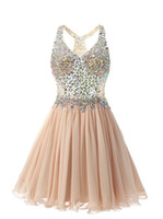 Wholesale yellow green prom dress for sale - Group buy Real Image Champagne Chiffon Short Homecoming Dresses with Beaded Rhinestone Graduation Party Gowns Maid of Honor Dress Prom