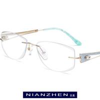 рамки без оправы для женщин оптовых-B Wire Titanium Eyeglasses Frame Women  Diamond Trimming Cut Female Frameless Rimless Myopia Optical Glasses Eyewear 7716