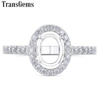 Wholesale white gold semi mount oval resale online - Transgem Customized k White Gold Moissanite Stone Semi mount For Halo Engagement Ring Suitable For Center x9mm Oval Stone Y19032201