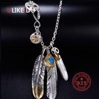 águias da pena venda por atacado-Colar de Prata 925 esterlina sólida para homens encantos do vintage Takahashi Goros Pendant Pena de Eagle Cadeia P1022 novas jóias populares