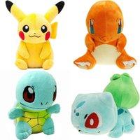 bebek pikachu oyuncakları toptan satış-Pikachu Charmander Squirtle Peluş oyuncaklar sevimli Kapmak makinesi Bebek Çocuk erkek bebek ve kızlar Için doğum günü yeni Yıl hediye
