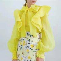 женские блузки оптовых-2020 с длинным рукавом Vintage Sexy Дизайнерские футболки для женщин Повседневная работа Мода 3 цвета Роскошное Блузы