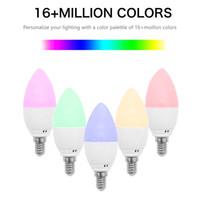 6w glühbirne smd großhandel-Smart E14 / E27 / E12 / B22 WiFi LED-Kerzenlampen Kompatibel mit Alexa Google Home 6W kerzenförmige Glühbirne Flame Light Emulation Dekorative Lampen