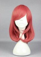 orta boy kostümler toptan satış-ÜCRETSIZ SHIPPIN + + + Promosyon Yüksek Kalite Kırmızı Orta Cosplay Anime Kostüm Peruk aşk canlı Anime