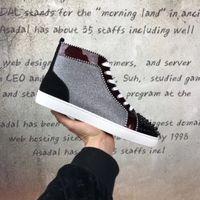 baskets paillettes achat en gros de-HOT Style Populaire Bas Rouge Sneakers Chaussures FemmesHommes Spikes Toe / Paillettes En Cuir Brillant Rivets De Haute Qualité Casual Marche Avec Boîte