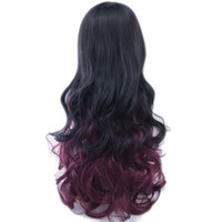 Wholesale ombre dark red wig resale online - Women Hair Ombre Color High Temperature Fiber Wigs Black To Burgundy Synthetic Hair Cosplay Wig Peruca Colors