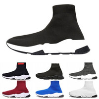 Wholesale pink basketball socks online - New classic Luxury Designer fashion Shoes for women men Speed Trainer Black Red Triple Black Flat Fashion Socks Boots mens Sneaker zapatos