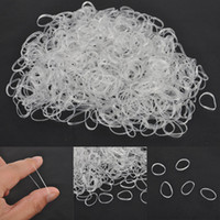 bricolaje para el cabello al por mayor-500pcs Hair Tie Band Ponytail Holder Elastic Rubber Clear White Women DIY Hair Styling Tools Accesorio Circle Ponytail Headwear