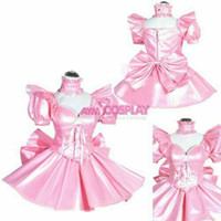 robes de vinyle en cuir achat en gros de-mini robe en similicuir verrouillable Sissy Maid vinyle CD / TV sur mesure