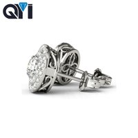 Wholesale diamond stud earrings carat for sale - Group buy Qyi Sterling Silver Stud Earrings Carat Full Round Simulated Diamond Earring White Gold Ball Stud Earrings For Women GMX190711
