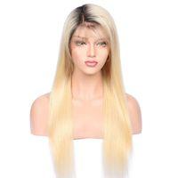 königin reine haarspitzeperücken groihandel-Meine Königin reines Menschenhaar Perücken 1b / 613 Farbe gerade transparent HD Lace Perücken 150% Dichte Ombre Farbe brasilianisches reines Haar