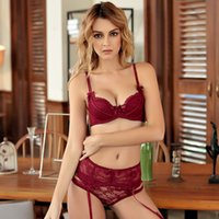 165bbcbf40 New Fashion women sexy thin cotton cup Bra set deep V broad-brimmed lace  brassiere Embroidery underwear sets bra+panty+garter red pink black