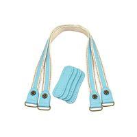 tissu cuir en cuir achat en gros de-2pcs cuir sac poignées en cuir + tissu sac à bandoulière sangle sac à main ceinture poignée durable pour les femmes sacs à main accessoires bleu