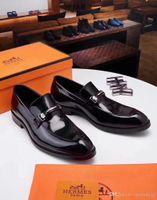 vestidos de cor marrom venda por atacado-Melhor 2 Cor Sapatos de Vestido de Luxo Sapatos de Grife Homens Sapatos de Plataforma Sapatos De Casamento Dos Homens Slip-on Brown Men s Tamanho 8-5 Com Caixa