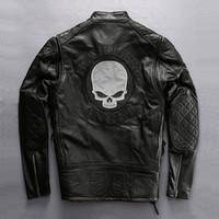 vintage schädel lederjacke großhandel-Dhl-freies verschiffen Männer Echte Lederjacke Vintage Klassische Harley Motorrad Biker Schwarze Jacke Schädel Stickerei Rindsleder Mantel