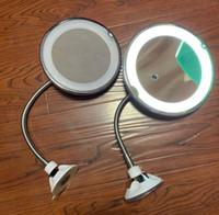 saugspiegel großhandel-10facher Vergrößerung Kosmetikspiegel LED Saugnapfes mit Gooseneck verlängert Metallschlauch 360 Grad Drehung Flexible Spiegel GGA2687