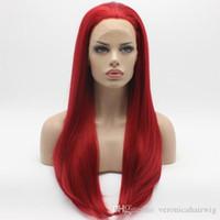 pelucas largas rojas naturales al por mayor-Natural Hairline Resistente al Calor Recta Larga Red Cosplay Peluca Media Mano Atada Resistente al Calor Sintético Del Frente Del Cordón Pelucas para Mujeres Parte libre
