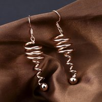 perlas giratorias al por mayor-Moda giratoria metal espiral geométrica cuelga los pendientes para las mujeres Vintage Beads pendientes 2019 Brincos Bijoux boucle d'oreille
