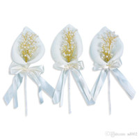Wholesale lily table resale online - Birthday Cake Insert Calla Lily Pearl Flower Flag Dessert Table Plugin Wedding Decorate Supplies Bowknot Paper Creative xhC1
