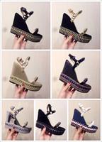 sandália de cunha coberta venda por atacado-Designers Sandálias de fundo vermelho Cataclou Cork Wedge Shoes Mulheres Espadrille High Heel sandálias de verão Sandálias de plataforma coberta de glitter prata
