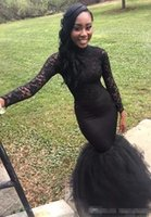 sexy schwarze kleider großhandel-Charming Black Lace Langarm Mermaid Prom Kleider 2019 Black Girls Long Fitted Prom Kleider Frauen Pageant Party Kleider