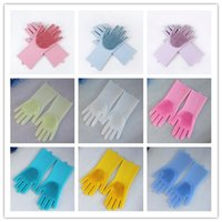 Wholesale garden tools online - 11 Colors Silicone Magic Cleaning Glove Brush Resuable Household Scrubber Anti Scald Washing Gloves Dishwashing Kitchen Bathroom Tool