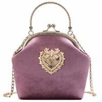 taschen für bräute großhandel-Weibliche Samt Perle Handtasche Vintage Velour Herz Design Abendtasche Hochzeit Braut Kupplung Velour Tasche Geldbörse