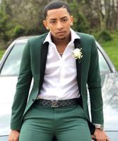 une pièce formelle pantalon achat en gros de-2019 vert chasseur costumes pour hommes Slim Fit deux pièces garçons d'honneur smokings de mariage revers à revers un bouton costume formelle de bal (veste + pantalon)