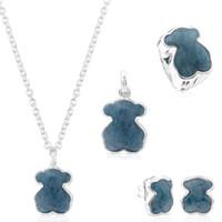 Wholesale flats spike stud resale online - 2019 Sterling Silver Blue Wire Stud Earrings Beautiful Female Earrings Bear Pendant Clavicle Chain Ring