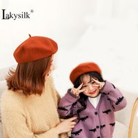 bérets en laine enfants achat en gros de-100% laine Bérets hiver Hat pour la mode Parent-Enfant Femme Laine Bérets Vintage Solid Color Casquettes Femmes Filles chaudes Caps d'enfants