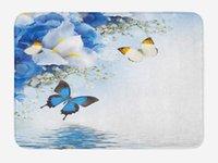 ingrosso fiori selvatici blu-Zerbino floreale Fiori selvaggi blu e bianchi con farfalle monarca Lily Therapy Zen Spa Stampe d'arte Decorazioni per la casa Tappetini per tappeti