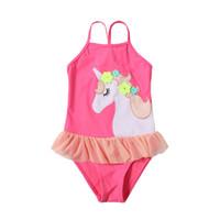 Wholesale small swimwear online - Baby girls unicorn one piece bathsuit swimsuit small flower embroidery horse cute ruffled swimwear cartoon outdoors swimsuit QQA346