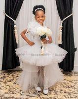 weiße prom kleider für kleinkinder groihandel-2020 Elegante High Low weißer Mädchen-Festzug-Kleider Prinzessin müde Tüll 3D Blumen-Design Kleinkind-Kind-Blumen-Mädchen-Partei-Abschlussball-Kleider für Kinder