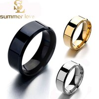 Wholesale simple gold engagement rings for women resale online - 6mm mm Gold Silver Black Tungsten Stainless Steel Rings for Women Men Simple Glossy Engagement Rings Fashion Jewelry Gift