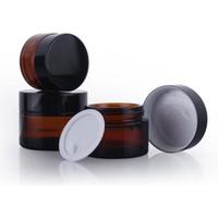 losyon kapları toptan satış-5g 10g 20g 30g 50g 100g Amber Kahverengi Cam Yüz Kremi Kavanoz Doldurulabilir Yuvarlak Şişe Kozmetik Makyaj Losyon Saklama Kabı Kavanoz
