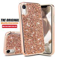 bling casing toptan satış-Premium bling 2 in 1 Lüks Elmas Rhinestone Glitter Telefon Kılıfı Için iPhone XR XS MAX X 8 7 6 Samsung Not 9