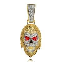 china de oro de 18 k al por mayor-hip hop Viaje al oeste collares pendientes Budismo lujo diamantes cultura china mono rey colgantes 18 k collar de oro chapado joyería