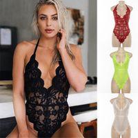kadın iç çamaşırı ile görüşürüz toptan satış-1PC Sıcak Satış Dantel Bodysuits Sexy Lingerie Dantel Bodysuit Kadınlar Yaz Vücut Jumpsuit Lingeries S / M / L Ücretsiz Kargo See-through