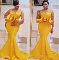 robes de soirée en or jaune achat en gros de-2019 nouvelles robes de soirée sexy sirène jaune portent épaule d'or Appliques Peplum dos ouvert Long train de balayage plus la taille robes de soirée de bal