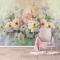 große papierblumenwände großhandel-Benutzerdefinierte Home-Large Benutzerdefinierte 3D Fototapete Rose Blume und Schmetterling Weiß Tapeten für 3 d Wohnzimmer Haushalt Tapeten